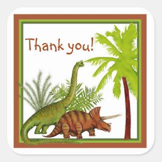 Pegatinas del cumpleaños del dinosaurio pegatina cuadrada