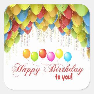 Pegatinas del cumpleaños del globo wow calcomania cuadradas personalizadas