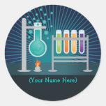 Pegatinas del cumpleaños del laboratorio de etiqueta redonda