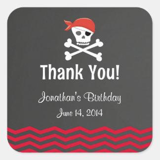 Pegatinas del cumpleaños del pirata de la pizarra pegatina cuadrada