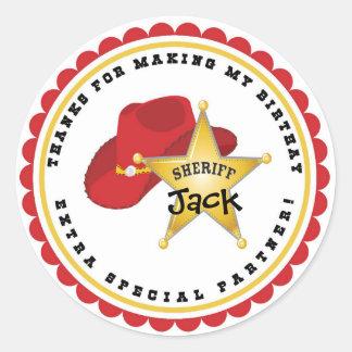 Pegatinas del cumpleaños del sheriff del vaquero pegatina redonda
