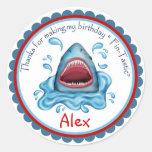 Pegatinas del cumpleaños del tiburón