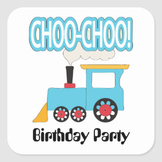 Pegatinas del cumpleaños del tren de Choo Choo Pegatinas Cuadradas