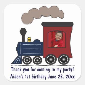 Pegatinas del cumpleaños del tren de Choo Choo Pegatina Cuadrada