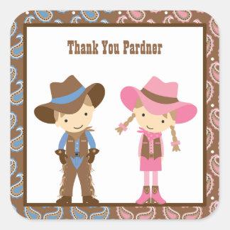 Pegatinas del cumpleaños del vaquero y de la colcomania cuadrada