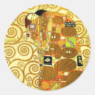 Pegatinas del cumplimiento de Gustavo Klimt Pegatina Redonda
