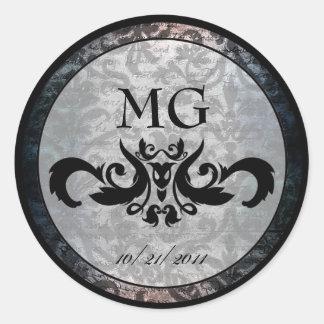 Pegatinas del damasco negro de lujo/sellos góticos pegatina redonda
