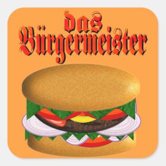 pegatinas del das Burgermeister Pegatina Cuadrada