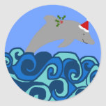 Pegatinas del delfín del navidad pegatina redonda