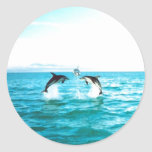 Pegatinas del delfín etiqueta redonda
