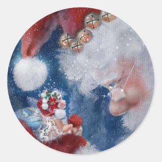Pegatinas del día de fiesta de Santa y del Faery Pegatina Redonda