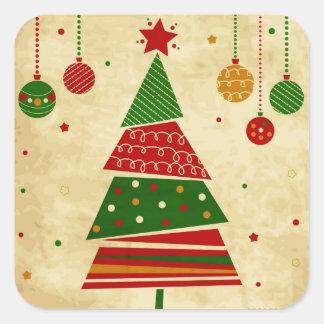 Pegatinas del día de fiesta del árbol de navidad pegatina cuadradas personalizada
