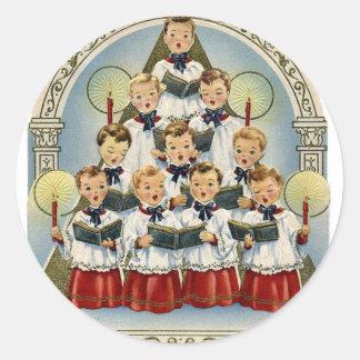 Pegatinas del día de fiesta del coro del vintage pegatina redonda