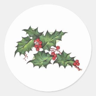 Pegatinas del día de fiesta del navidad del acebo pegatina redonda