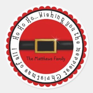 Pegatinas del día de fiesta del navidad del Belly Etiqueta Redonda