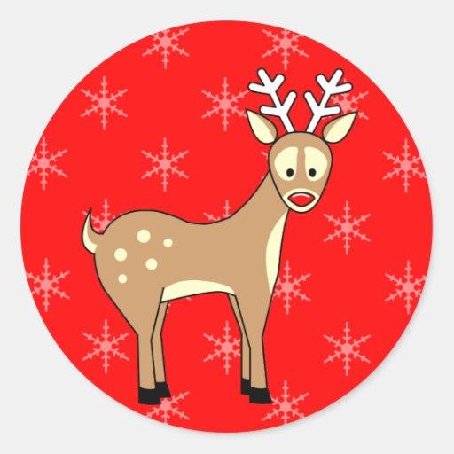 Pegatinas del día de fiesta del reno del dibujo etiqueta redonda