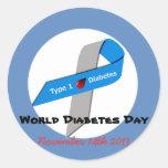 Pegatinas del día de la diabetes del mundo pegatina redonda