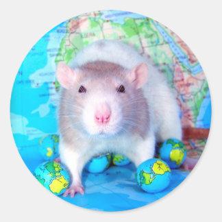 Pegatinas del día de la rata del mundo pegatina redonda