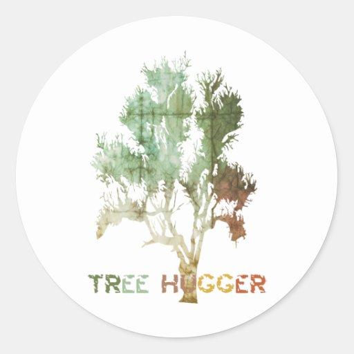 Pegatinas del Día de la Tierra de Hugger del árbol Pegatina Redonda