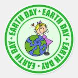 Pegatinas del Día de la Tierra Etiquetas Redondas