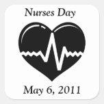 Pegatinas del día de las enfermeras pegatina cuadradas