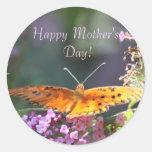 Pegatinas del día de madre de la mariposa de etiqueta redonda