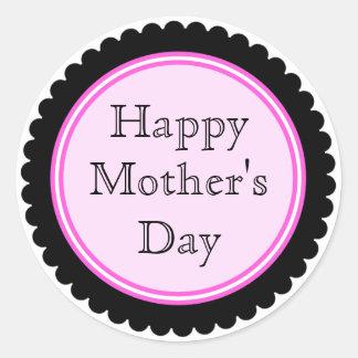 Pegatinas del día de madre de las rosas fuertes etiqueta redonda