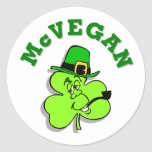 Pegatinas del día de McVegan St Patrick divertido Pegatina Redonda