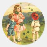 Pegatinas del día de St Patrick del Victorian Pegatina Redonda