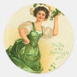 Pegatinas del día de St Patrick del vintage Etiqueta Redonda