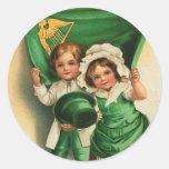 Pegatinas del día de St Patrick del vintage Etiquetas Redondas
