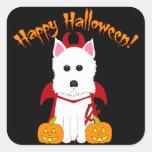 Pegatinas del diablo de Westie del feliz Halloween Calcomanias Cuadradas