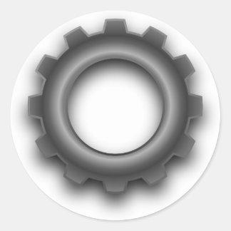 Pegatinas del diente del engranaje del metal pegatina redonda