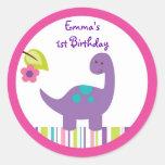 Pegatinas del dinosaurio de la niña pegatina redonda