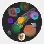 Pegatinas del diseño de la Sistema Solar Pegatina Redonda