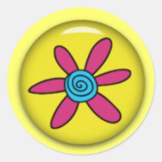 pegatinas del doodle de la flor pegatina redonda