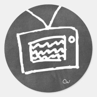 pegatinas del doodle de los wallies de la pizarra pegatina redonda