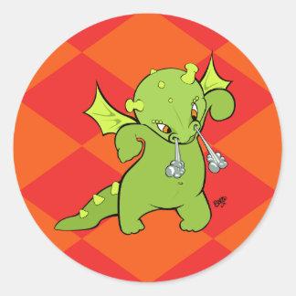 Pegatinas del dragón del bebé del dibujo animado pegatina redonda