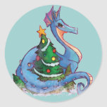 Pegatinas del dragón del navidad de los niños etiqueta redonda