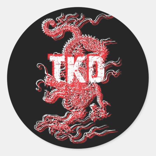 Pegatinas del dragón del Taekwondo Pegatinas Redondas