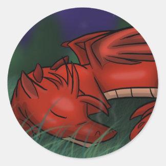 """""""Pegatinas del dragón el dormir"""" Pegatinas Redondas"""
