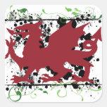 Pegatinas del dragón Galés Calcomanía Cuadradas Personalizadas