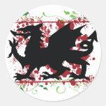 Pegatinas del dragón Galés Etiquetas Redondas