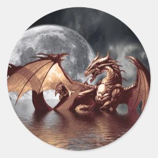Pegatinas del dragón y de la luna pegatina redonda