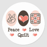 Pegatinas del edredón del amor de la paz pegatina redonda