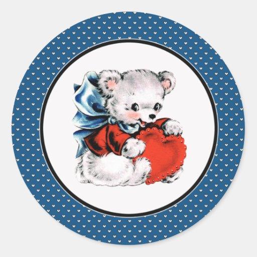 Pegatinas del el día de San Valentín del oso de Pegatina Redonda