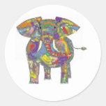 Pegatinas del elefante del arco iris pegatina redonda