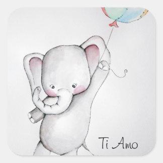 Pegatinas del elefante del bebé del Amo del Ti Pegatina Cuadrada
