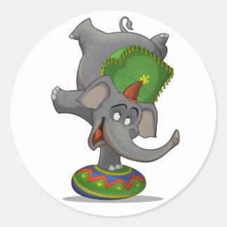 Pegatinas del elefante del circo pegatina redonda