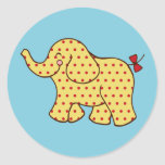 Pegatinas del elefante del circo etiquetas redondas